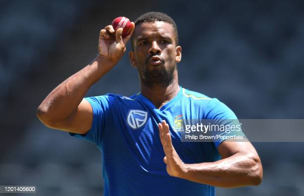 Vernon Philander of South Africa bowls during a training session at the Wanderers before the fourth Test Match against England on January 23, 2020 in...