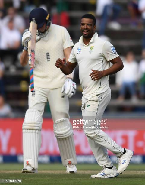 Vernon Philander of South Africa celebrates after dismissing Zac Crawley of England during Day One of the Fourth Test between England and South...