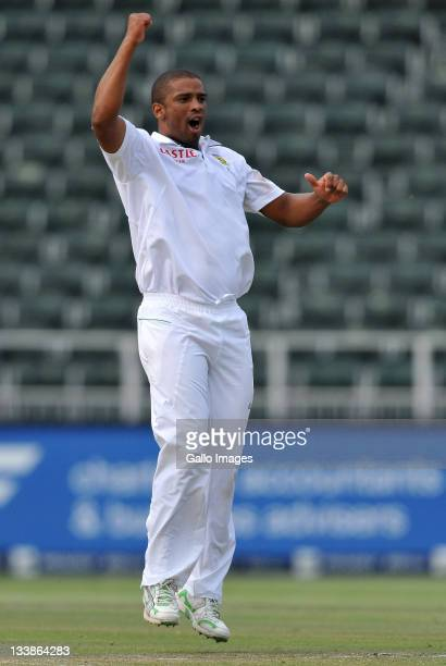 Vernon Philander of South Africa celebrates his fifor during day five of the 2nd Test match between South Africa and Australia at Wanderers on...