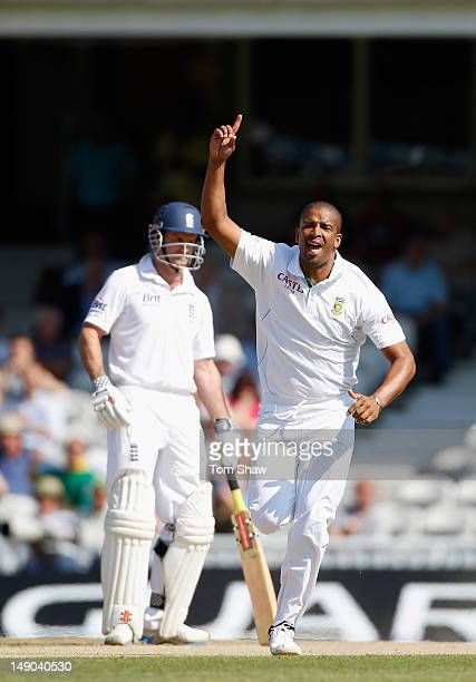 Vernon Philander of South Africa celebrates taking the wicket of Alastair Cook of England during day 4 of the 1st Investec Test Match between England...