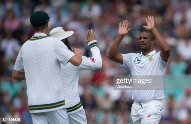 Vernon Philander of South Africa celebrates taking the wicket of Keaton Jennings of England during day one of the 3rd Investec test between England...