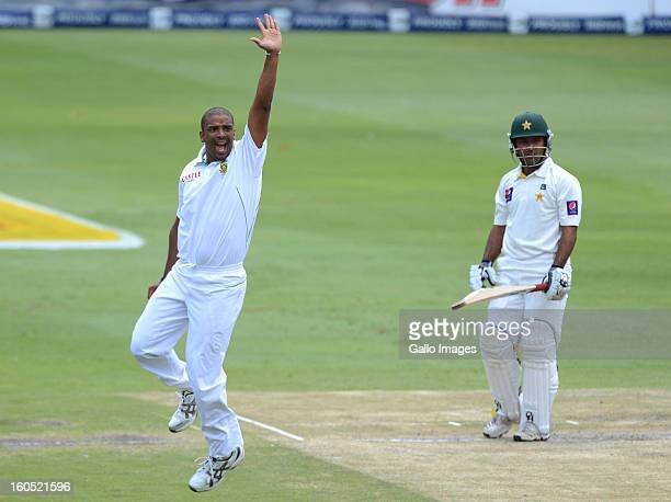 Vernon Philander of South Africa celebrates the wicket of Asad Shafiq of Pakistan during day 2 of the 1st Test match between South Africa and...