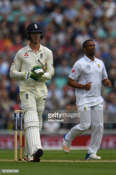 Vernon Philander of South Africa celebrates thje wicket of Keaton Jennings of England during Day One of the 3rd Investec Test between England and...