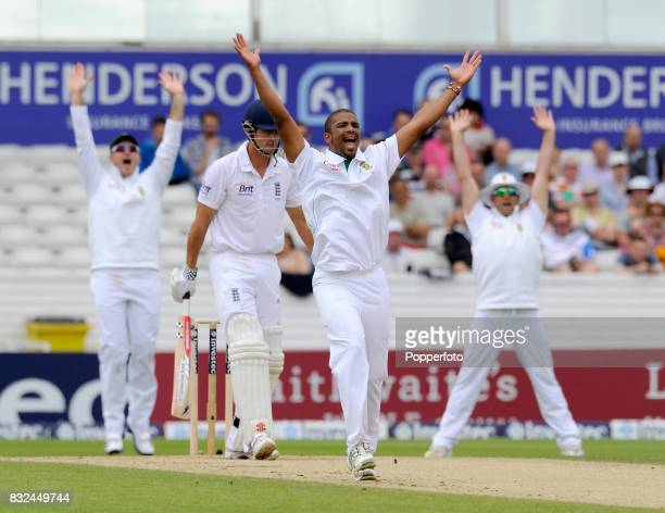 Vernon Philander of South Africa celebrates trapping Alastair Cook of England LBW during Day 3 of the 2nd Test between England and South Africa at...