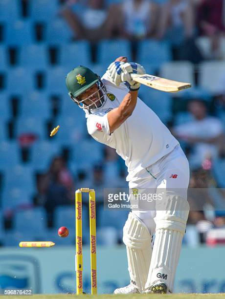 Vernon Philander of South Africa dismissed during day 2 of the 2nd Sunfoil International Test match between South Africa and New Zealand at...