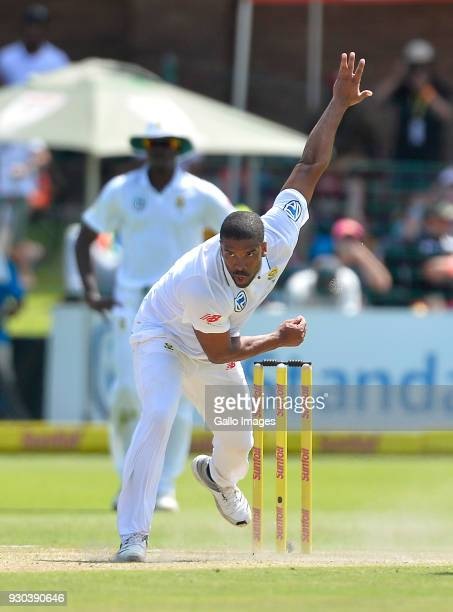 Vernon Philander of South Africa in action during day 3 of the 2nd Sunfoil Test match between South Africa and Australia at St Georges Park on March...