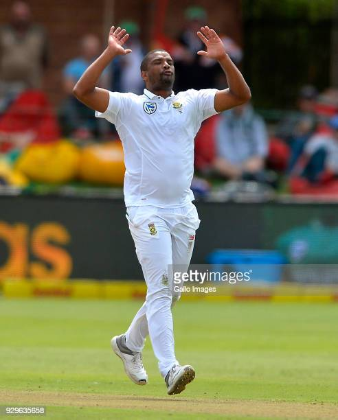 Vernon Philander of South Africa reacts during day 1 of the 2nd Sunfoil Test match between South Africa and Australia at St George's Park on March 09...