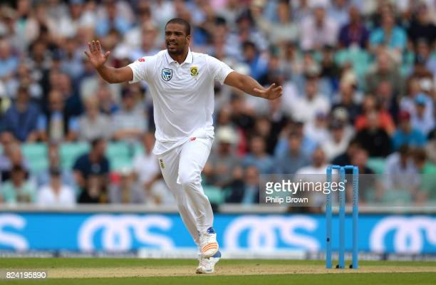 Vernon Philander of South Africa reacts during the third day of the 3rd Investec Test match between England and South Africa at the Kia Oval on July...