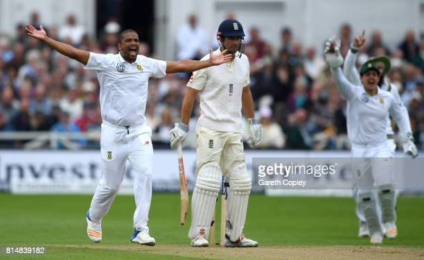Vernon Philander of South Africa successfully appeals for the wicket of Alastair Cook of England during day two of the 2nd Investec Test match...