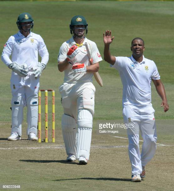 Vernon Philander of the Proteas celebrates the wicket of Mitchell Marsh of Australia out for 96 runs during day 2 of the 1st Sunfoil Test match...