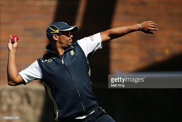 Vernon Philander throws to test his injured shoulder during a South African Proteas nets session at Sydney Cricket Ground on October 31 2012 in...