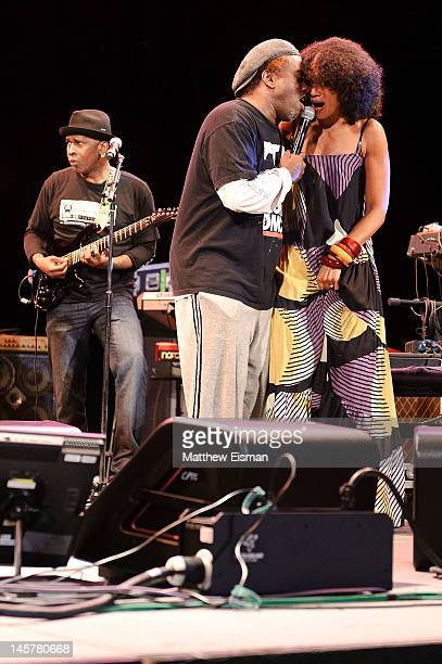 Vernon Reid Corey Glover and Amel Larrieux perform at the 2012 City Parks Foundation Summerstage Gala 'The Music of Jimi Hendrix' at Rumsey Playfield...