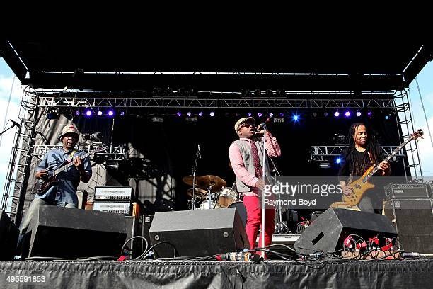 Vernon Reid Corey Glover and Doug Wimbush from Living Colour performs at Columbus Crew Stadium on May 16 2014 in Columbus Ohio