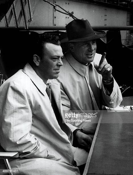 Vernon Stephens just released from Baltimore talks with Hank Greenberg as they watch the Washington SenatorsCleveland Indians day game April 26 1955