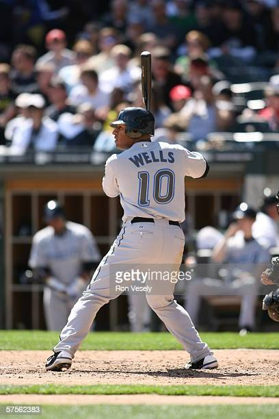 Vernon Wells of the Toronto Blue Jays bats during the game against the Chicago White Sox at US Cellular Field in Chicago Illinois on April 15 2006...