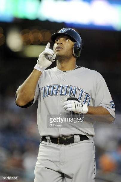 Vernon Wells of the Toronto Blue Jays celebrates after hitting a home run against the Washington Nationals June 20 2009 at Nationals Park in...