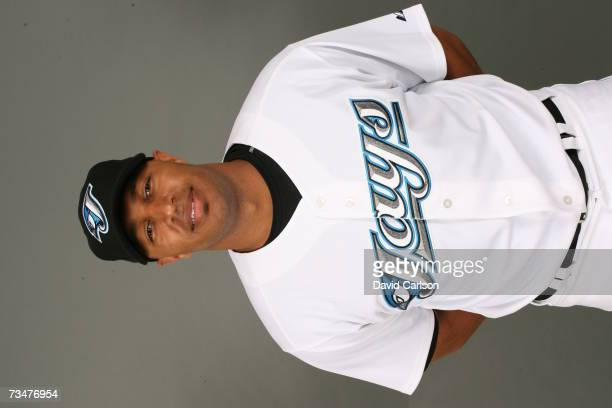 Vernon Wells of the Toronto Blue Jays poses during photo day at Dunedin Stadium on February 23 2007 in Dunedin Florida