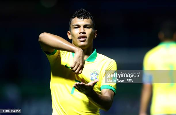 Veron of Brazil celebrates after he scores his teams 2nd goal during the FIFA U17 World Cup Brazil 2019 Group A match between Angola and Brazil at...