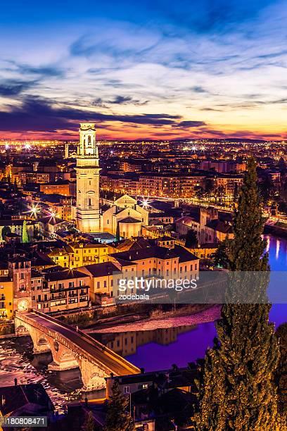Verona Cityscape By Night, Italy