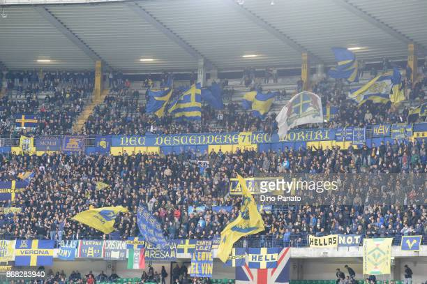 Verona fans shows their support during the Serie A match between Hellas Verona FC and FC Internazionale at Stadio Marc'Antonio Bentegodi on October...