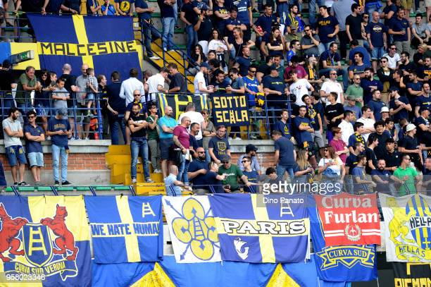 Verona fans shows thier support during the serie A match between Hellas Verona FC and Udinese Calcio at Stadio Marc'Antonio Bentegodi on May 13 2018...