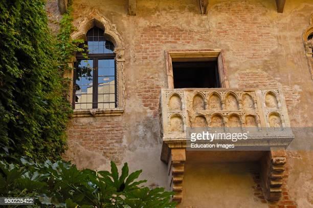 Verona House and balcony of Giulietta Casa Capuleti Veneto Italy Europe