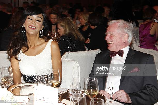 Verona Pooth and Harald zur Hausen at the 10th Anniversary Of The Felix Burda Award at Hotel Adlon in Berlin