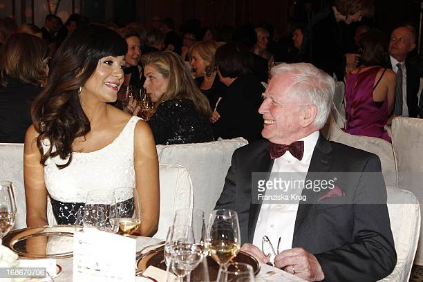 Verona Pooth and Harald zur Hausen at the 10th Anniversary Of The Felix Burda Award at Hotel Adlon in Berlin