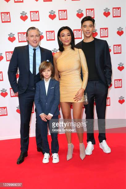 """Verona Pooth and her husband Franjo Pooth and son San Diego Pooth and son Rocco Pooth during the """"Ein Herz fuer Kinder"""" Gala at Studio Berlin..."""