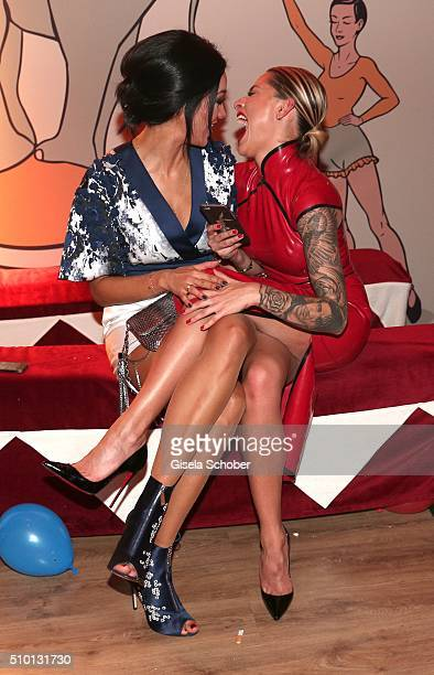 Verona Pooth and Sophia Thomalla making a selfie during the Bild 'Place to B' Party at Borchardt during the 66th Berlinale International Film...
