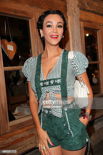 Verona Pooth green leather trousers short attends the Almauftrieb during the Oktoberfest 2015 at Kaeferschaenke beer tent on September 20 2015 in...