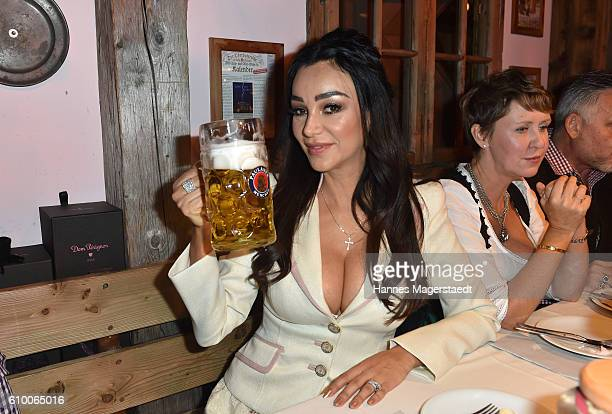Verona Pooth in the Kaeferschaenke beer tent during the Oktoberfest at Theresienwiese on September 23 2016 in Munich Germany