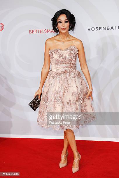 Verona Pooth wearing a dress by Lana Mueller Couture attends the Rosenball 2016 on April 30 in Berlin Germany