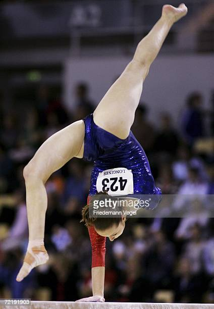 Verona van de Leur of Netherlands performs on the beam in the womens qualification during the World Artistic Gymnastics Championships at the NRGi...