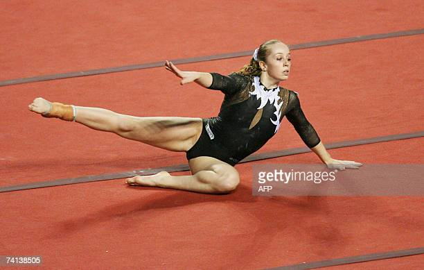 Verona Van De Leur of The Netherlands performed competes in floor exercices during the World Cup Gymnastics' final at Gent's topsporthal 13 May 2007...