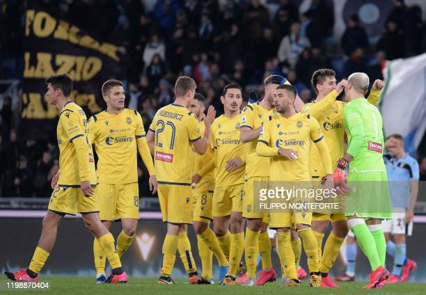 Verona's players react at the end of the Italian Serie A football match between Lazio and Verona on Februry 5 2020 at the Olympic Stadium in Rome