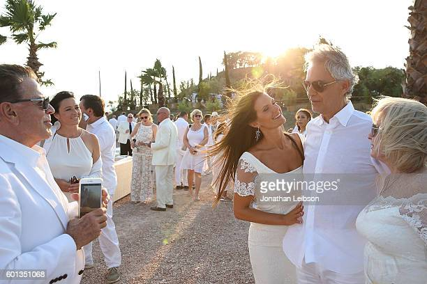 Veronica and Andrea Bocelli attend the apertif at the Teatro del Silenzio as part of Celebrity Fight Night Italy benefiting The Andrea Bocelli...