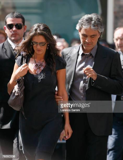 Veronica and Andrea Bocelli attend the funeral of Italian Tenor Luciano Pavarotti held in the Duomo di Modena on September 8 2007 in Modena Italy
