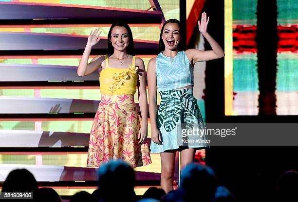 Veronica and Vanessa Merrell wave onstage during Teen Choice Awards 2016 at The Forum on July 31 2016 in Inglewood California