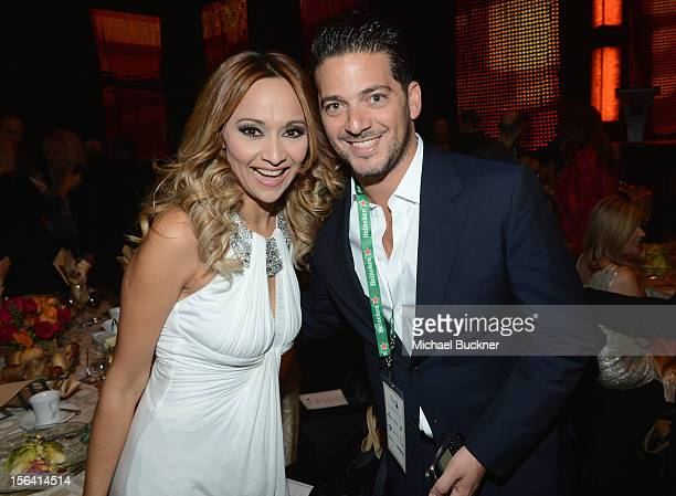 Veronica Bastos and Amir Aghaei pose during the 2012 Person of the Year honoring Caetano Veloso at the MGM Grand Garden Arena on November 14 2012 in...