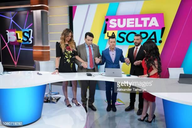 Veronica Bastos Luis Alfonso Borrego Jorge Bernal Juan Manuel Cortes and Carolina Sandoval are seen on the new set of Suelta La Sopa during their 5...