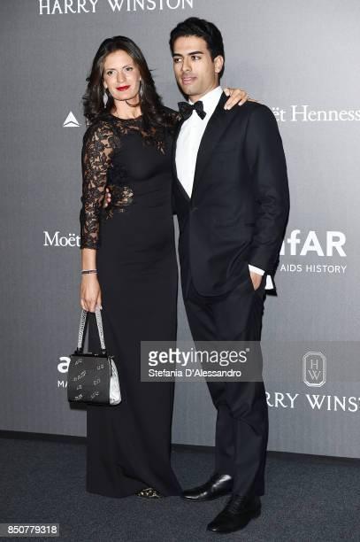 Veronica Berti and Amos Bocelli walk the red carpet of amfAR Gala Milano on September 21, 2017 in Milan, Italy.