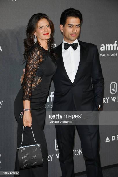 Veronica Berti and Amos Bocelli walks the red carpet of amfAR Gala Milano on September 21, 2017 in Milan, Italy.
