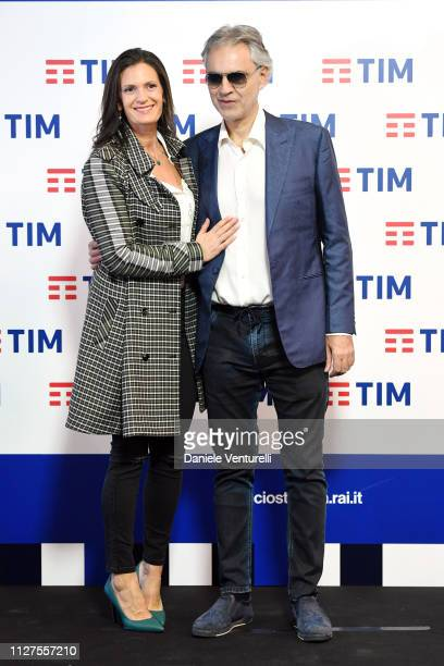 Veronica Berti and Andrea Bocelli attend a photocall on the first day of the 69. Sanremo Music Festival at Teatro Ariston on February 05, 2019 in...