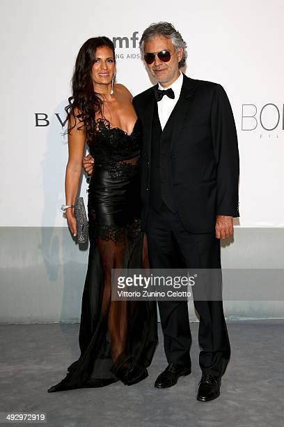 Veronica Berti and Andrea Bocelli attend amfAR's 21st Cinema Against AIDS Gala Presented By WORLDVIEW, BOLD FILMS, And BVLGARI at Hotel du...