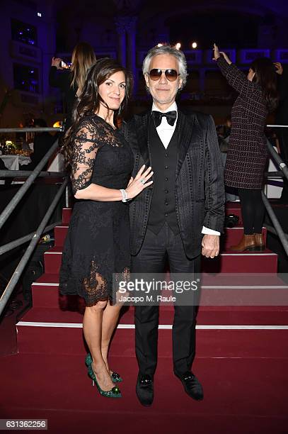 Veronica Berti and Andrea Bocelli attend Firenze4ever 14th Edition Party hosted by LuisaViaRoma on January 9 2017 in Florence Italy