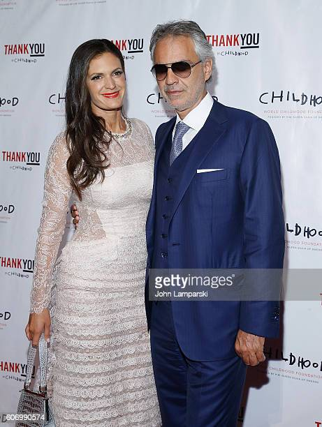 Veronica Berti and Artist Andrea Bocelli attends World Childhood Foundation USA Thank You Gala 2016 at Cipriani 42nd Street on September 16 2016 in...