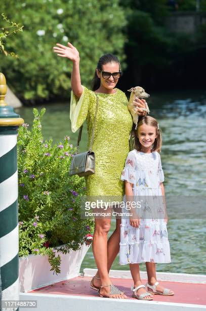 Veronica Berti and her daugther Virginia are seen arriving at the 76th Venice Film Festival on September 01 2019 in Venice Italy