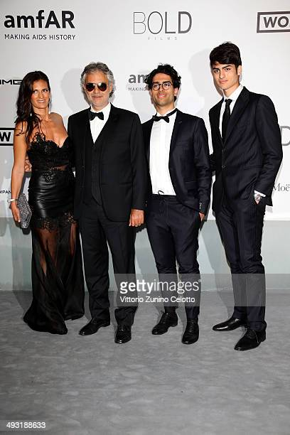 Veronica Berti, Andrea Bocelli, Amos Bocelli and Matteo Bocelli attend amfAR's 21st Cinema Against AIDS Gala Presented By WORLDVIEW, BOLD FILMS, And...