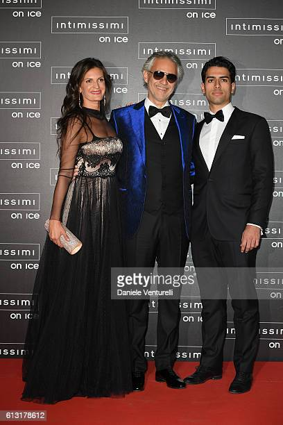 Veronica Berti, Andrea Bocelli and Amos Bocelli attend Intimissimi On Ice at Arena on October 7, 2016 in Verona, Italy.